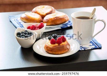 Cottage cheese pastry pies, vatrushka in Russian cuisine.  selective focus - stock photo
