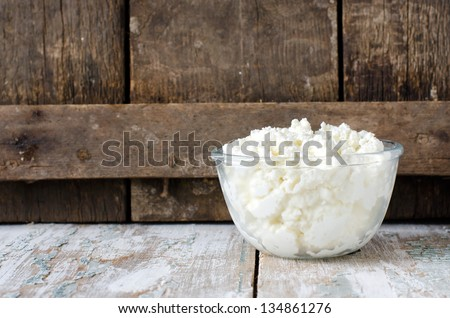 Cottage cheese.Selective focus - stock photo