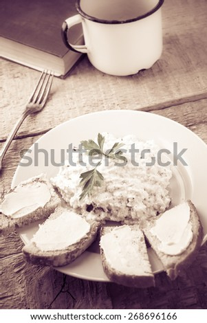 Cottage cheese with bread and a cup of fresh milk - stock photo