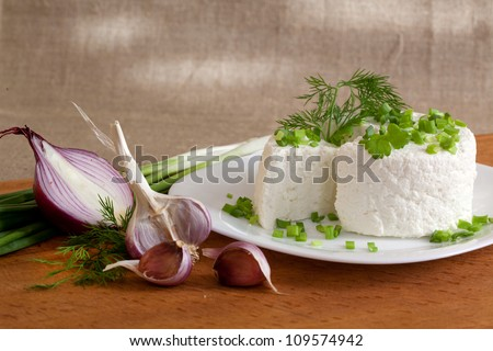 cottage cheese with greens and onions on a plate - stock photo