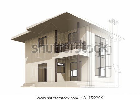 Cottage construction. High quality 3d render - stock photo