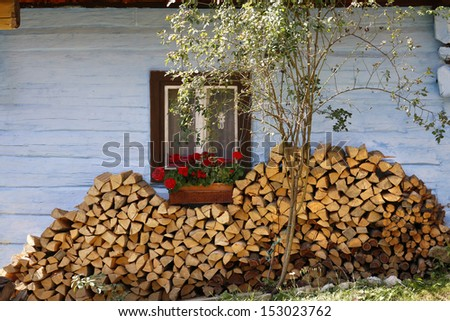 Cottage in etno village Vlkolinec in Slovakia - stock photo