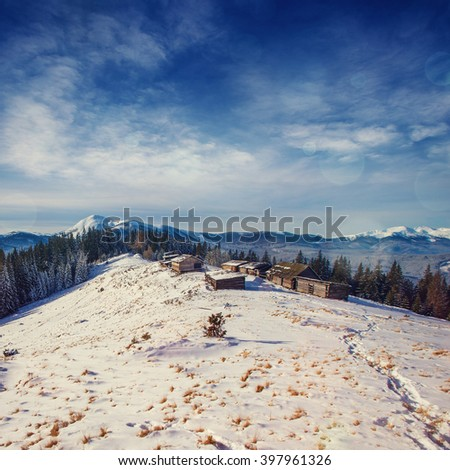 Cottage in snowy mountains with fabulous winter trees. Dramatic and picturesque scene. Carpathian. Ukraine, Europe. - stock photo