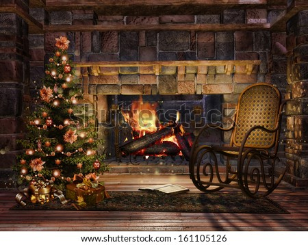 Cottage room with a fireplace, Christmas tree and a rocking chair - stock photo