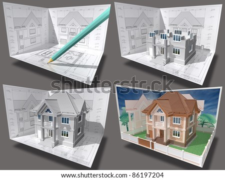Cottage under construction. 3D isometric view of residential house on architect drawing. Image with clipping path.