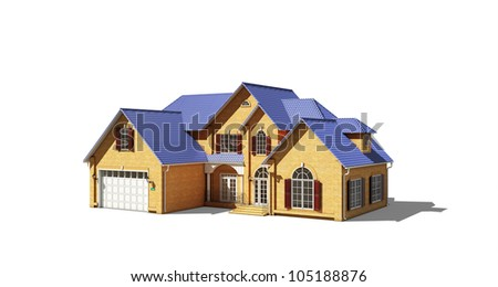 cottage with a blue roof on a white background