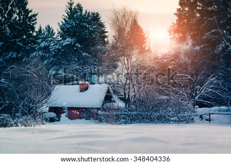 Cottage with smoke in winter fairy forest