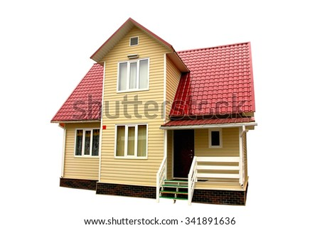 Cottage with white terrace and brown roof on the white background