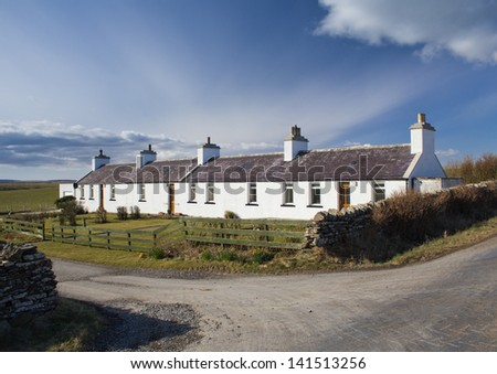 Cottages on the island of Shapinsay, Orkney, Scotland - stock photo