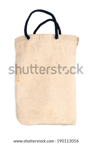 cotton bag on white background with shadow - stock photo