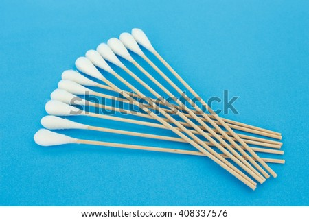 cotton bud, swab clean health care on blue background