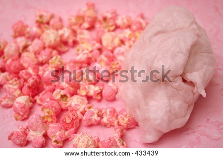 Cotton candy and popcorn - stock photo