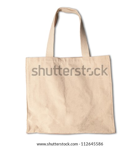cotton clothes bag on white background with shadow - stock photo