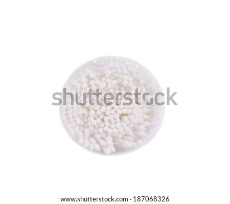 Cotton ear sticks. Isolated on a white background. - stock photo