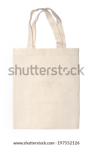 cotton eco bag on white background - stock photo