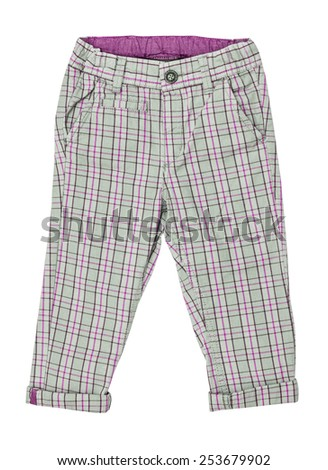 Cotton elegant children's trousers, checkered,  in a pink cage, isolated on the white - stock photo