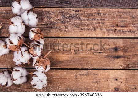 Cotton flowers on a wooden background - stock photo