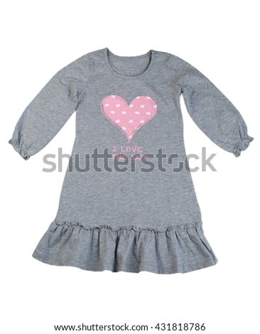 Cotton gray dress with a pattern of hearts. Isolate on white. - stock photo