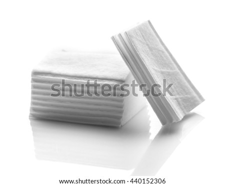 Cotton pads stack on white