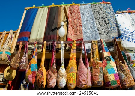 Cotton scarves and handbags