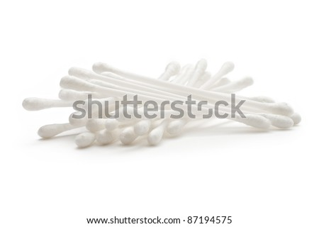 Cotton sticks isolated on the white background - stock photo