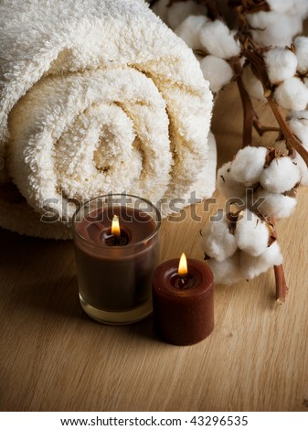 Cotton Towel and Candles - stock photo