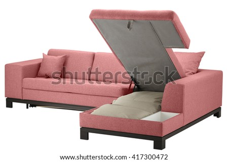 Couch bed with storage. Isolated on white include clipping path - stock photo