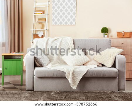 Couch in interior of living room, closeup - stock photo