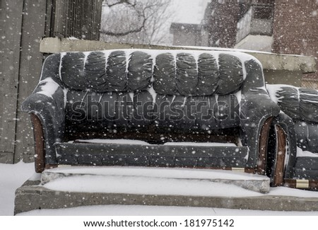 Couch in snow