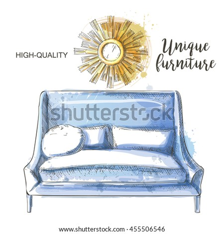 couch mirror sketch isolate hand drown furniture and interior detail - stock photo