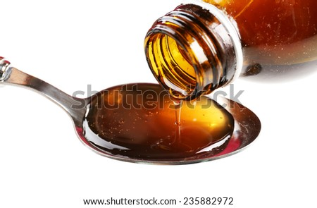 Cough syrup, close-up - stock photo
