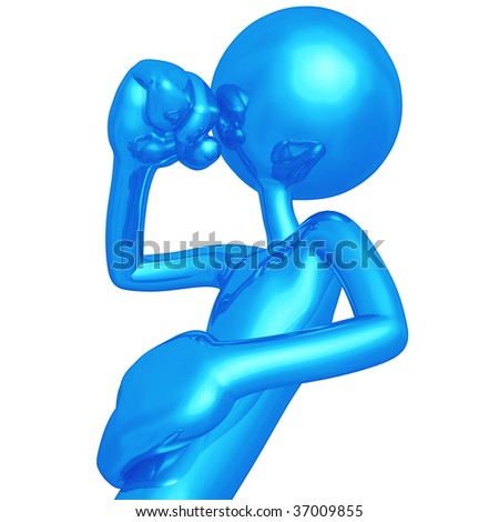 Coughing 3D Character - stock photo