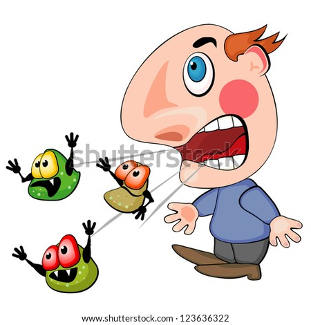 Coughing or sneezing man spreading germs of his disease - stock photo