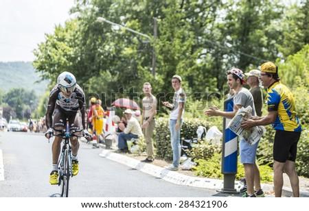 COULOUNIEIX-CHAMIERS,FRANCE-JUL26:The French cyclist Blel Kadri (Ag2r-La Mondiale Team) pedaling during the stage 20 ( time trial Bergerac - Perigueux) of Le Tour de France 2014. - stock photo