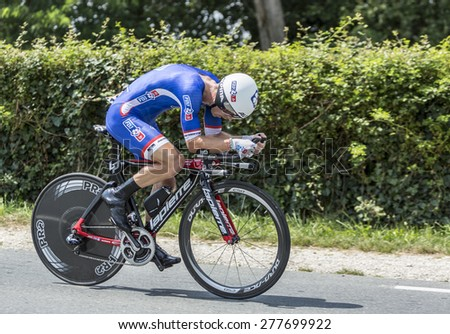 COULOUNIEIX-CHAMIERS,FRANCE-JUL26: The French cyclist Cedric Pineau (FDJ.frTeam) pedaling during the stage 20 ( time trial Bergerac - Perigueux) of Le Tour de France 2014. - stock photo