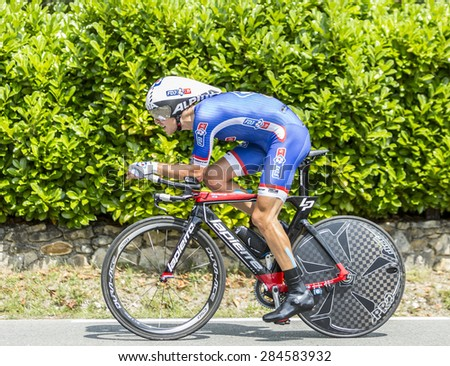 COULOUNIEIX-CHAMIERS,FRANCE-JUL26:The French cyclist Jeremy Roy (FDJ.frTeam) pedaling during the stage 20 ( time trial Bergerac - Perigueux) of Le Tour de France 2014.  - stock photo