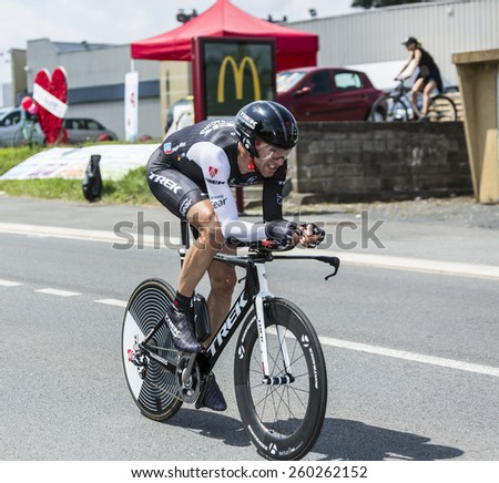 COULOUNIEIX-CHAMIERS,FRANCE-JUL26:The German cyclist Jens Voigt (Trek Team) pedaling during the stage 20 ( time trial Bergerac - Perigueux) of Le Tour de France 2014.  - stock photo