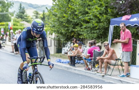 COULOUNIEIX-CHAMIERS,FRANCE-JUL26:The Spanish cyclist Jesus Herrada Lopez (MovistarTeam) pedaling during the stage 20 ( time trial Bergerac - Perigueux) of Le Tour de France 2014.  - stock photo