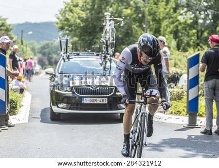 COULOUNIEIX-CHAMIERS,FRANCE-JUL26:The Spanish cyclist Markel Irizar ( Trek Factory Racing Team) pedaling during the stage 20 ( time trial Bergerac - Perigueux) of Le Tour de France 2014. - stock photo