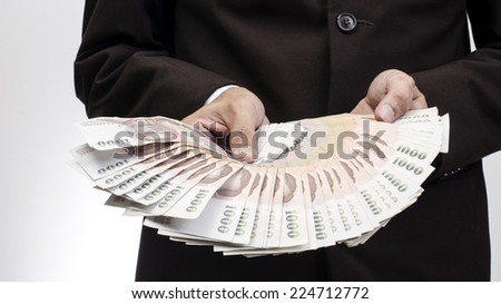 Count of thailand banknote money - stock photo