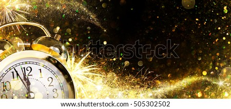 Countdown For New Year - Alarm Clock And Firework