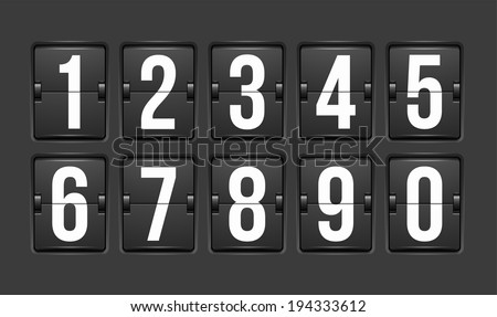 Countdown timer, white color mechanical scoreboard with different numbers - stock photo