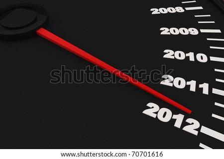 Countdown to New Year 2012 - Speedometer - stock photo