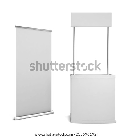 Counter and banner. 3d illustration isolated on white background  - stock photo