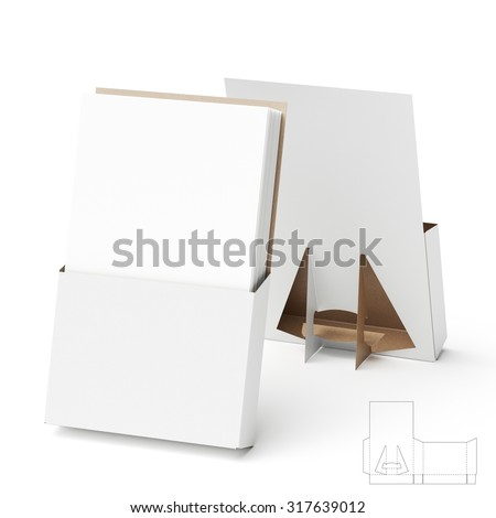 Counter Display Stand with Die Cut Templates for Brochures - stock photo