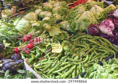 counter with fresh herbs and vegetables - stock photo