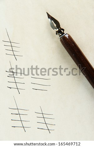 Counting days by drawing sticks on paper close up
