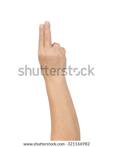 counting elderly hand on white background