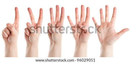 Counting female hands isolated on white