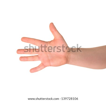 Counting: five finger sign as caucasian hand gesture isolated over white background - stock photo